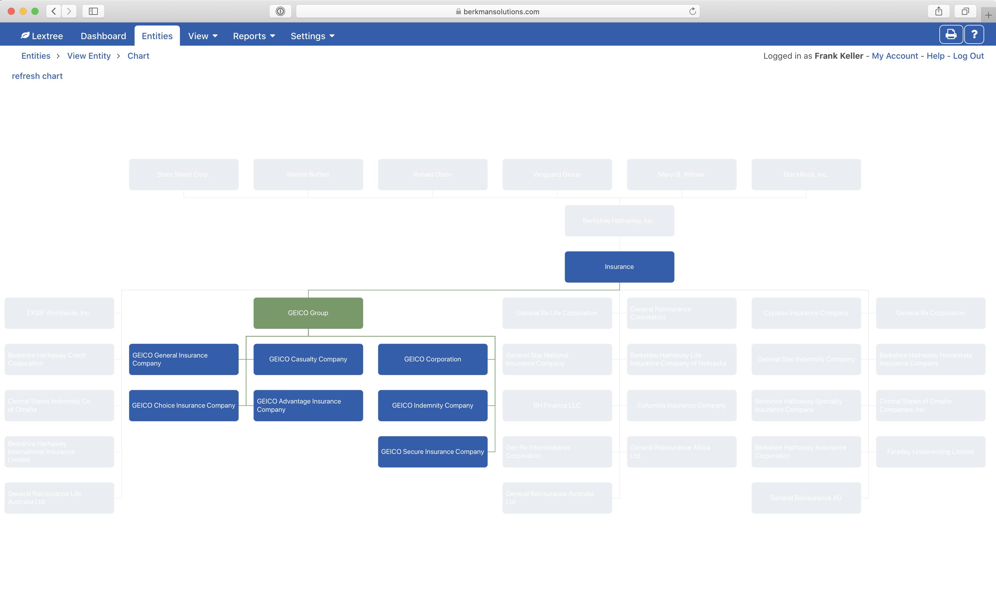 Organizational structure using business segment