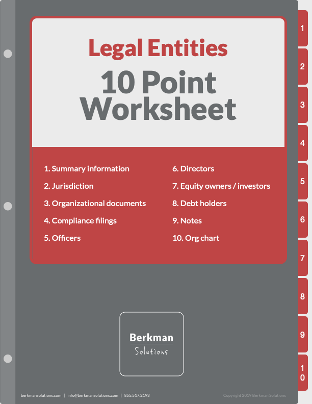 Legal Entity Summary - 10 Steps to Summary Any Legal Entity