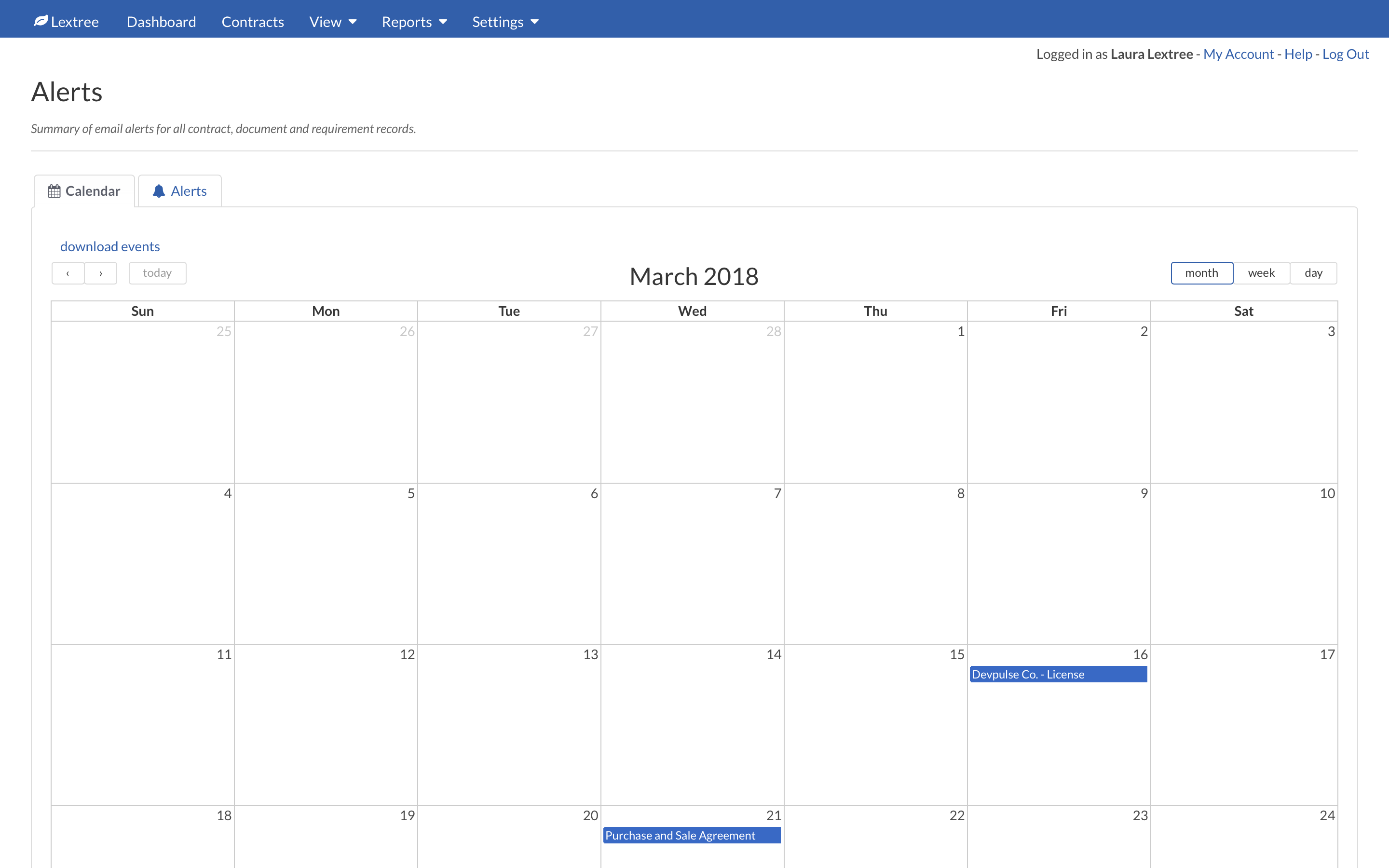 View Contract Alerts Calendar